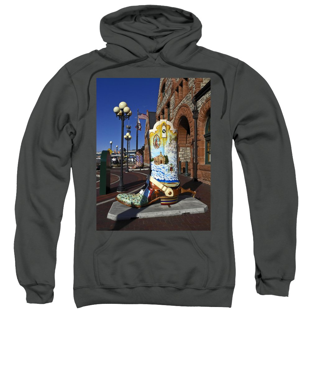 Cheyenne Depot Exterior Sweatshirt featuring the photograph Cowboy Boot Decoration by Sally Weigand