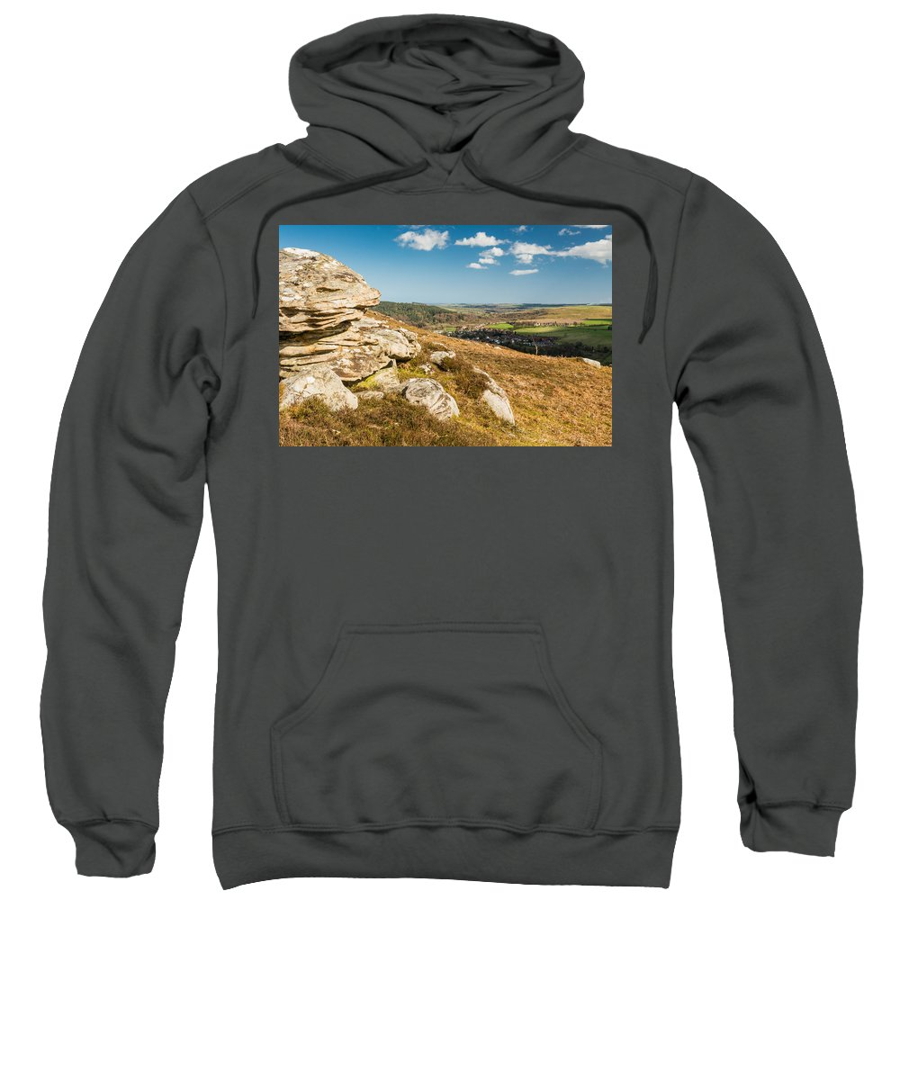 Northumberland Sweatshirt featuring the photograph Crags Over Rothbury by David Head
