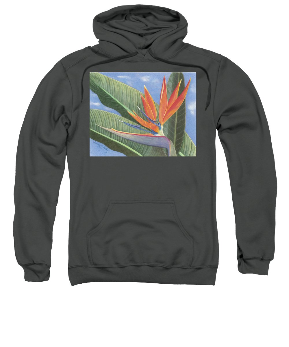 Floral Sweatshirt featuring the drawing Crane Flower Paradise by Diana Hrabosky