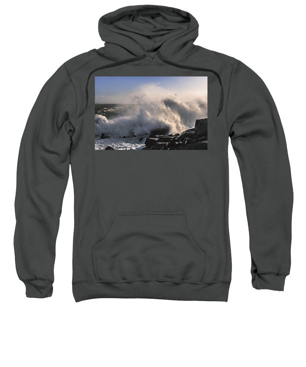 Crashing Surf Sweatshirt featuring the photograph Crashing Surf by Marty Saccone