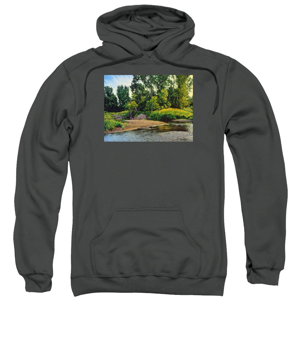 Landscape Sweatshirt featuring the painting Creek's Bend by Bruce Morrison