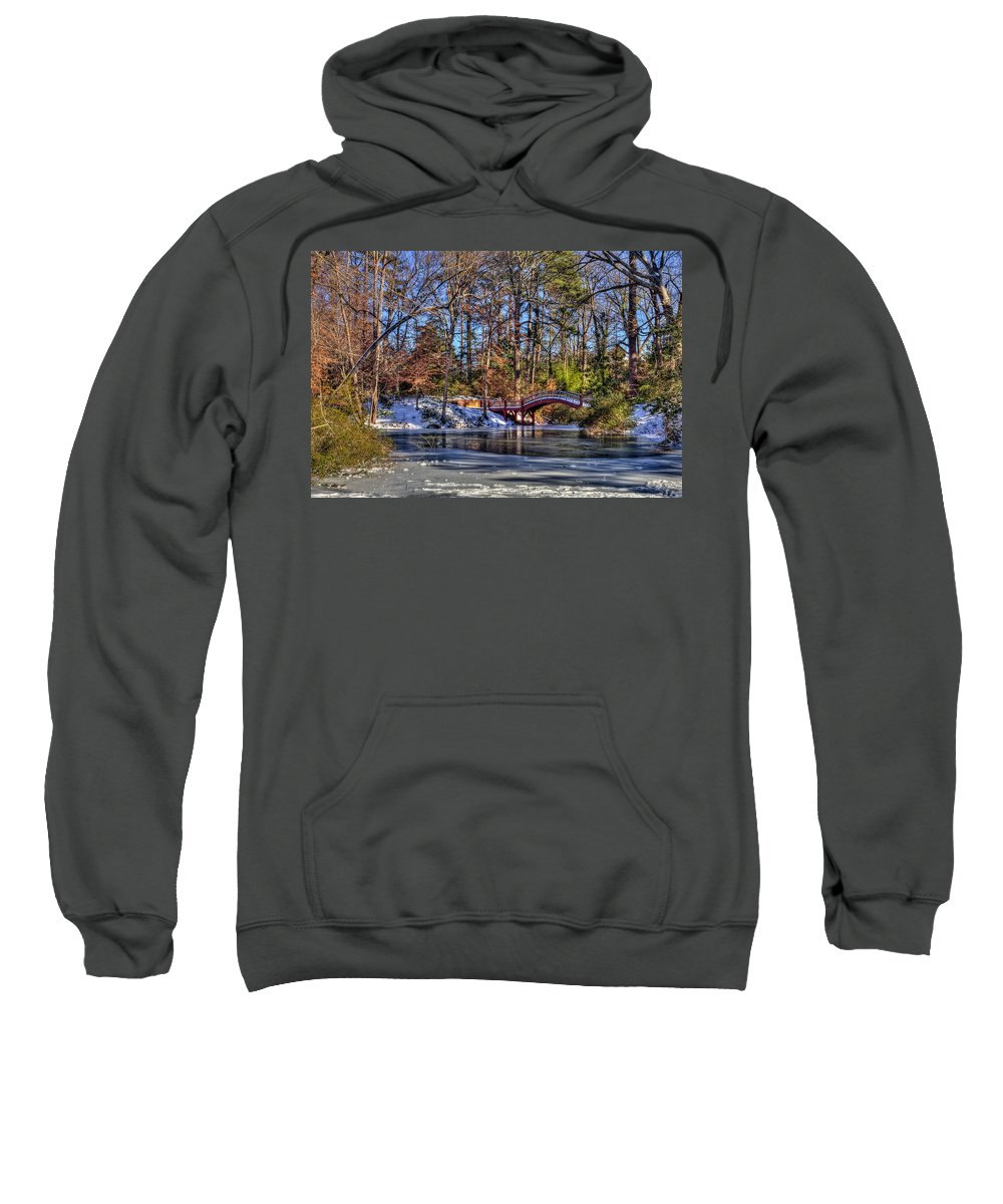 Crim Dell Sweatshirt featuring the photograph Crim Dell In Winter William And Mary by Jerry Gammon