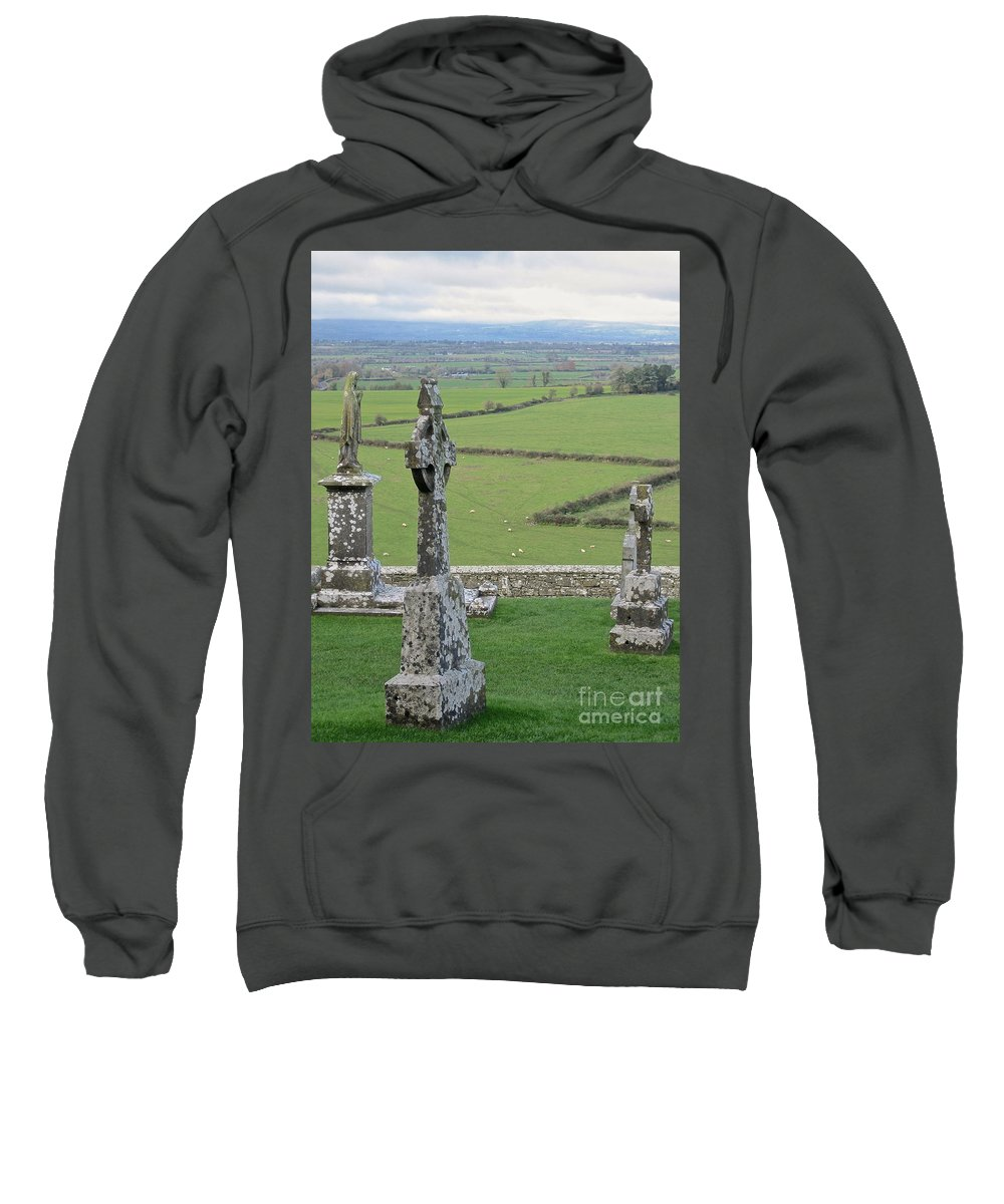 Cashel Ireland Celtic Cross Sweatshirt featuring the photograph Crosses Of Cashel by Suzanne Oesterling