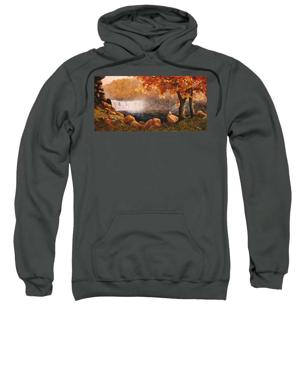 Waterfall Sweatshirt featuring the painting Cumberland Falls by Duane R Probus