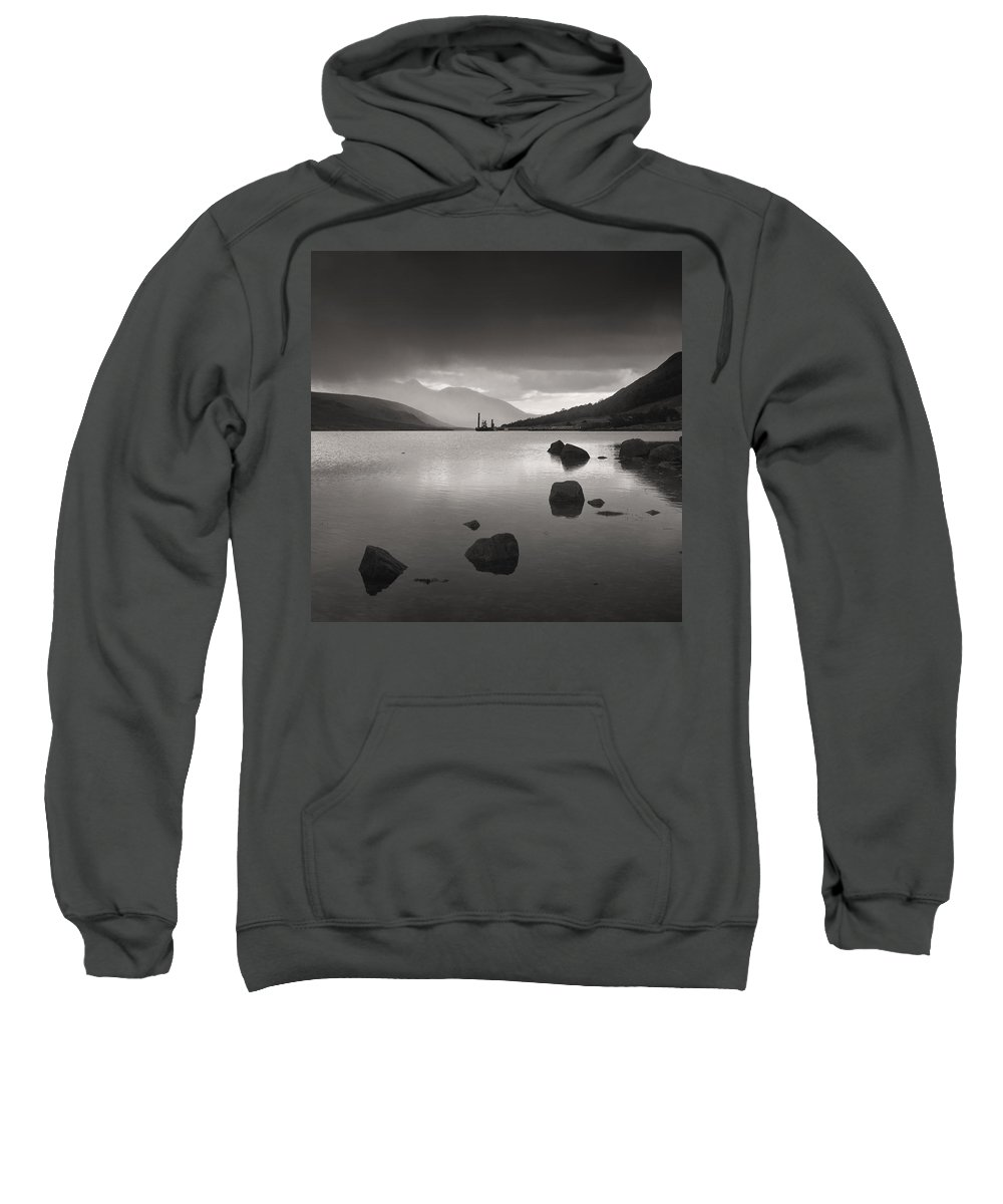 Glencoe Sweatshirt featuring the photograph Curve Of Rocks In Monochrome At Loch Etive by Nigel Forster
