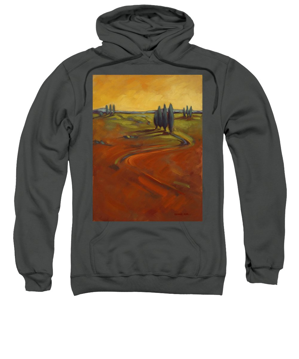 Cypress Sweatshirt featuring the painting Cypress Hills 3 by Konnie Kim