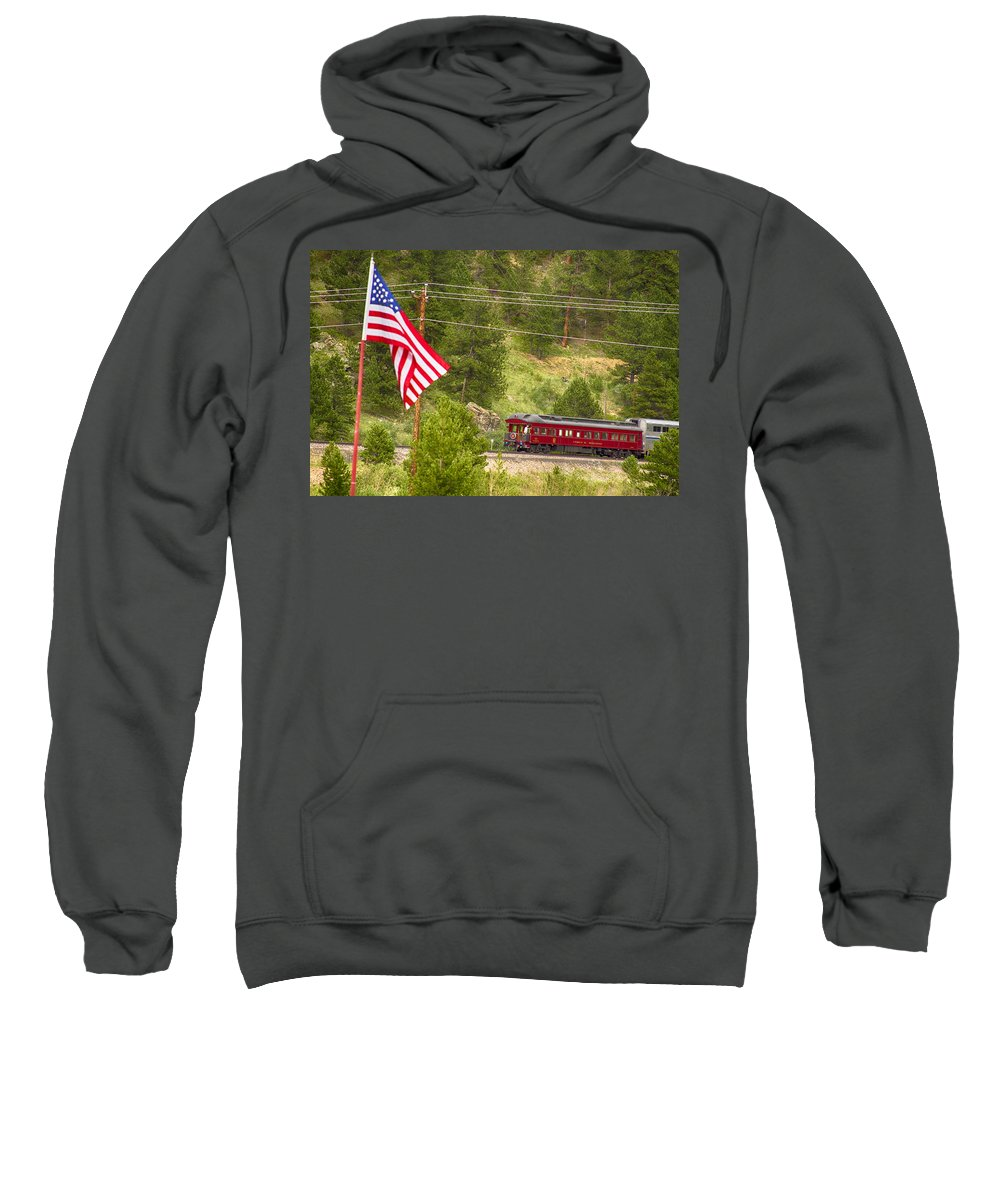 Cyrus K. Holliday Private Rail Car Sweatshirt featuring the photograph Cyrus K. Holliday Rail Car And Usa Flag by James BO Insogna