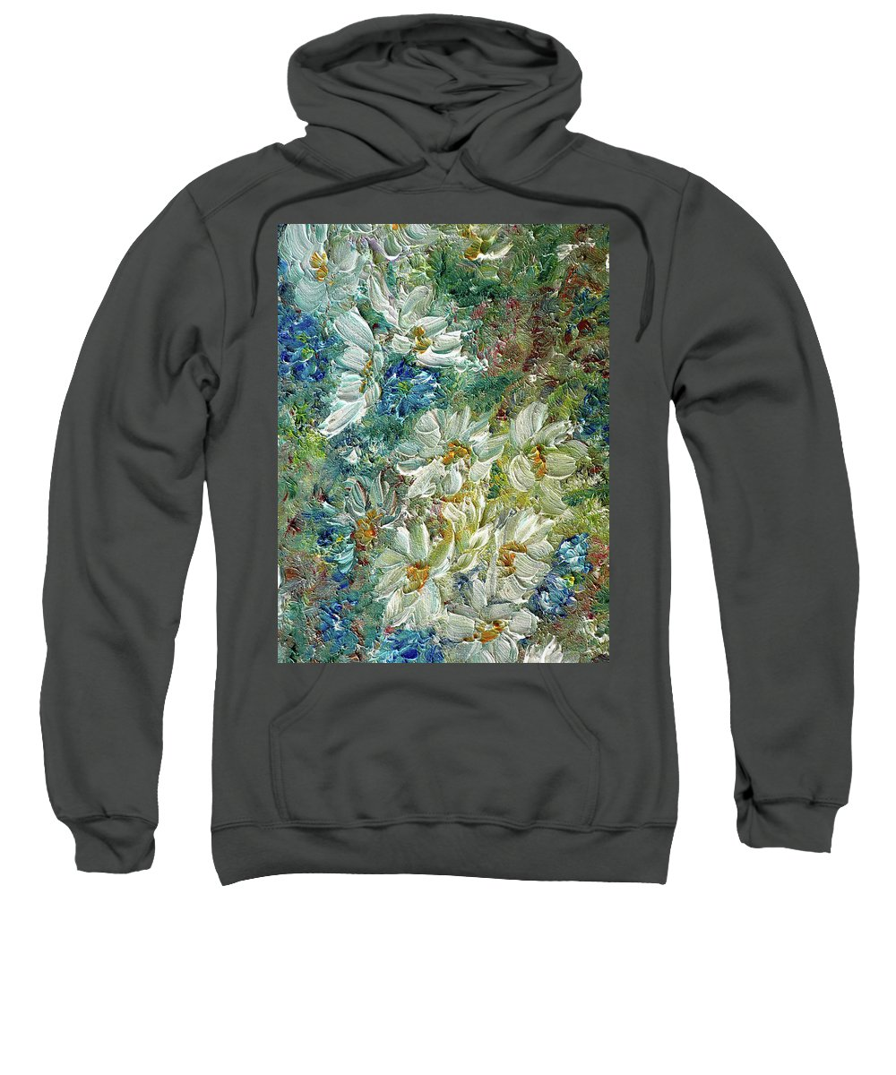 Daisy Painting Sweatshirt featuring the painting Daisy Chain by Karin Dawn Kelshall- Best