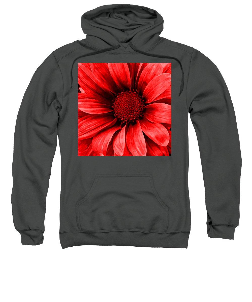 Daisy Sweatshirt featuring the mixed media Daisy Daisy Neon Red by Angelina Tamez