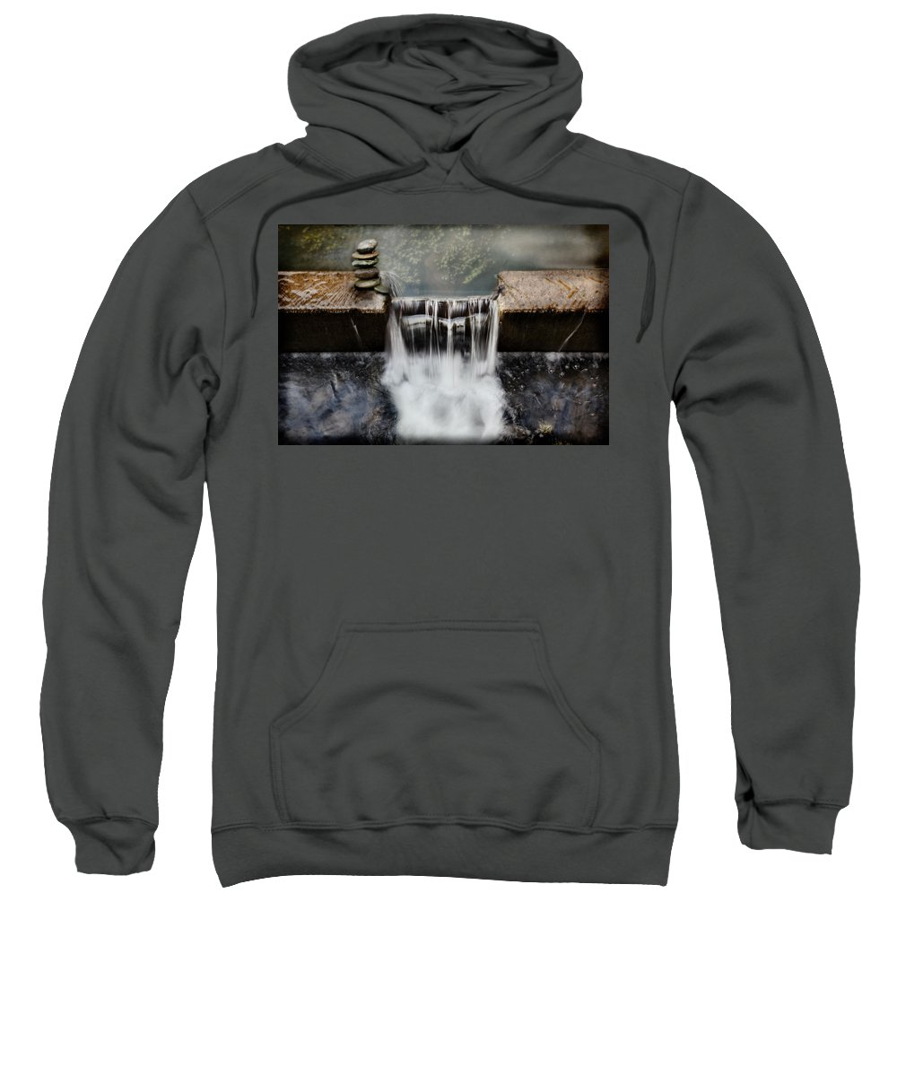 Waterfal Sweatshirt featuring the photograph Dam Rocks by Sally Bauer