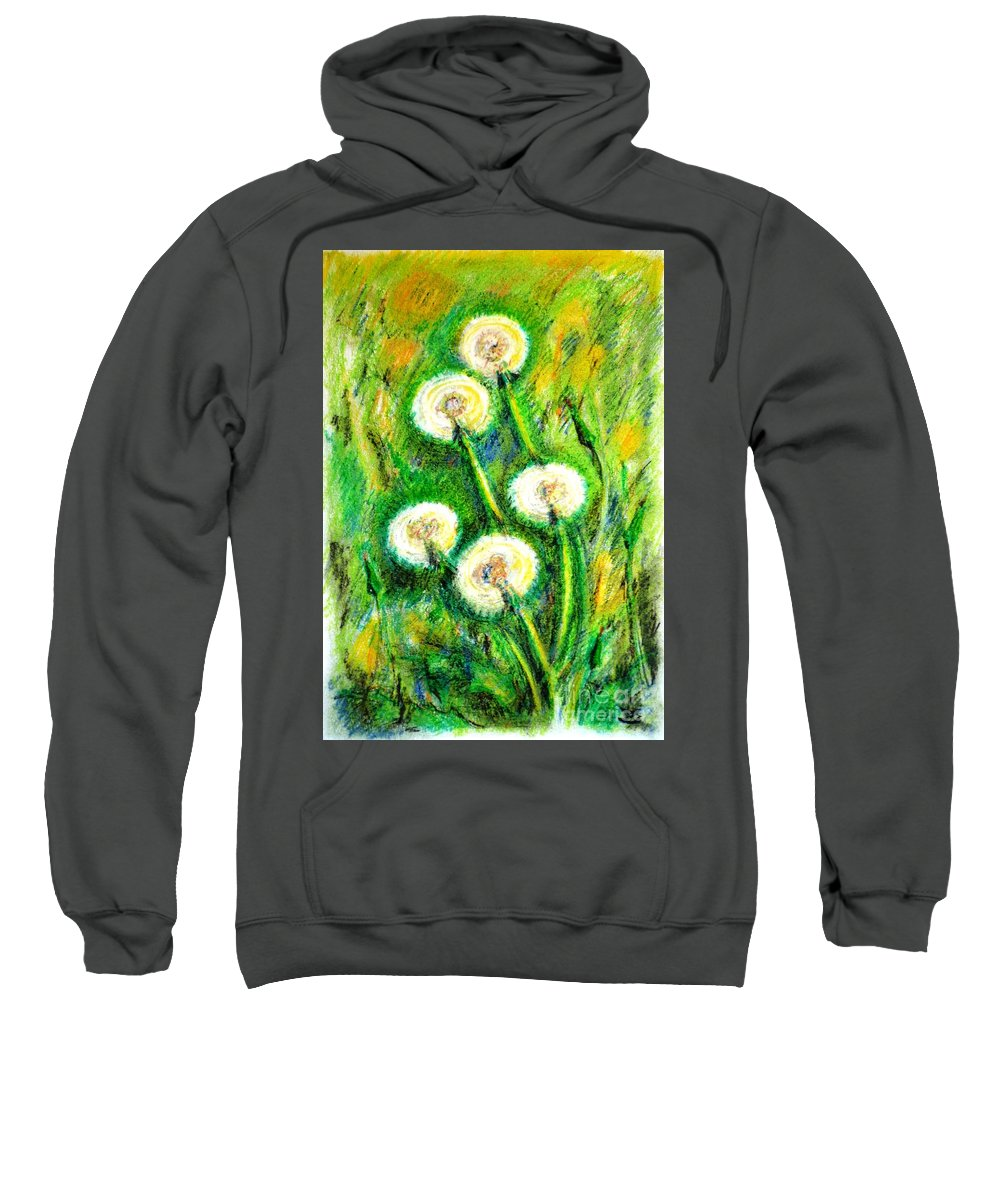Dandelions Sweatshirt featuring the painting Dandelions by Zaira Dzhaubaeva