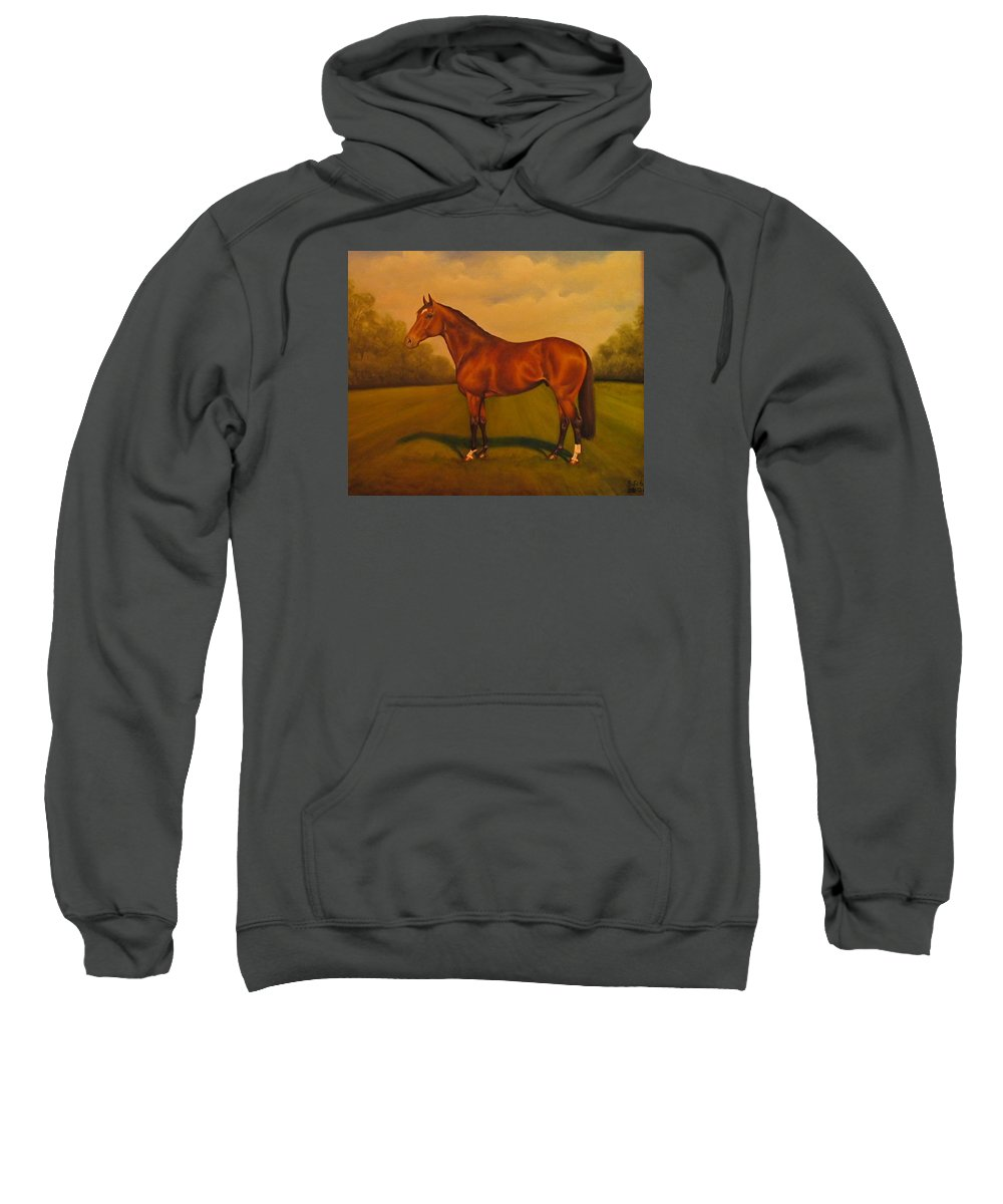 Racehorse Sweatshirt featuring the painting Danehill by Birgit Schnapp