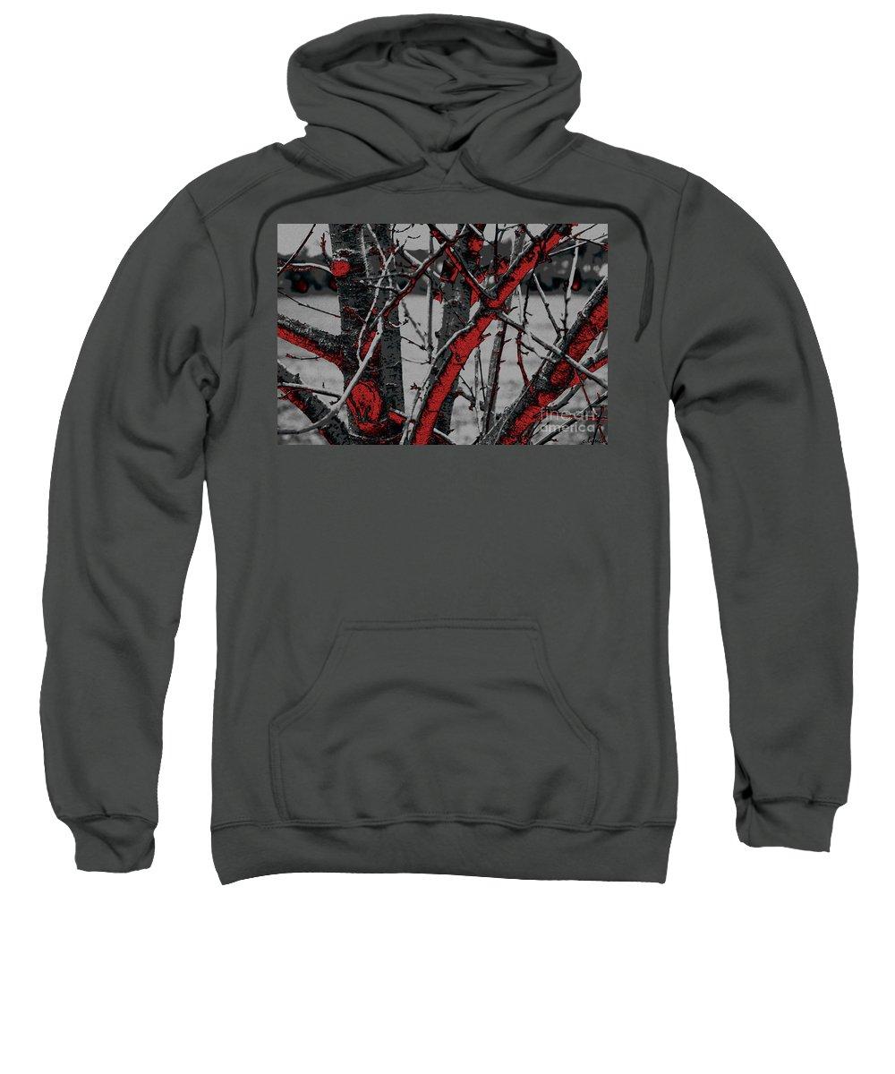 Dark Sweatshirt featuring the digital art Dark Branches by Carol Lynch