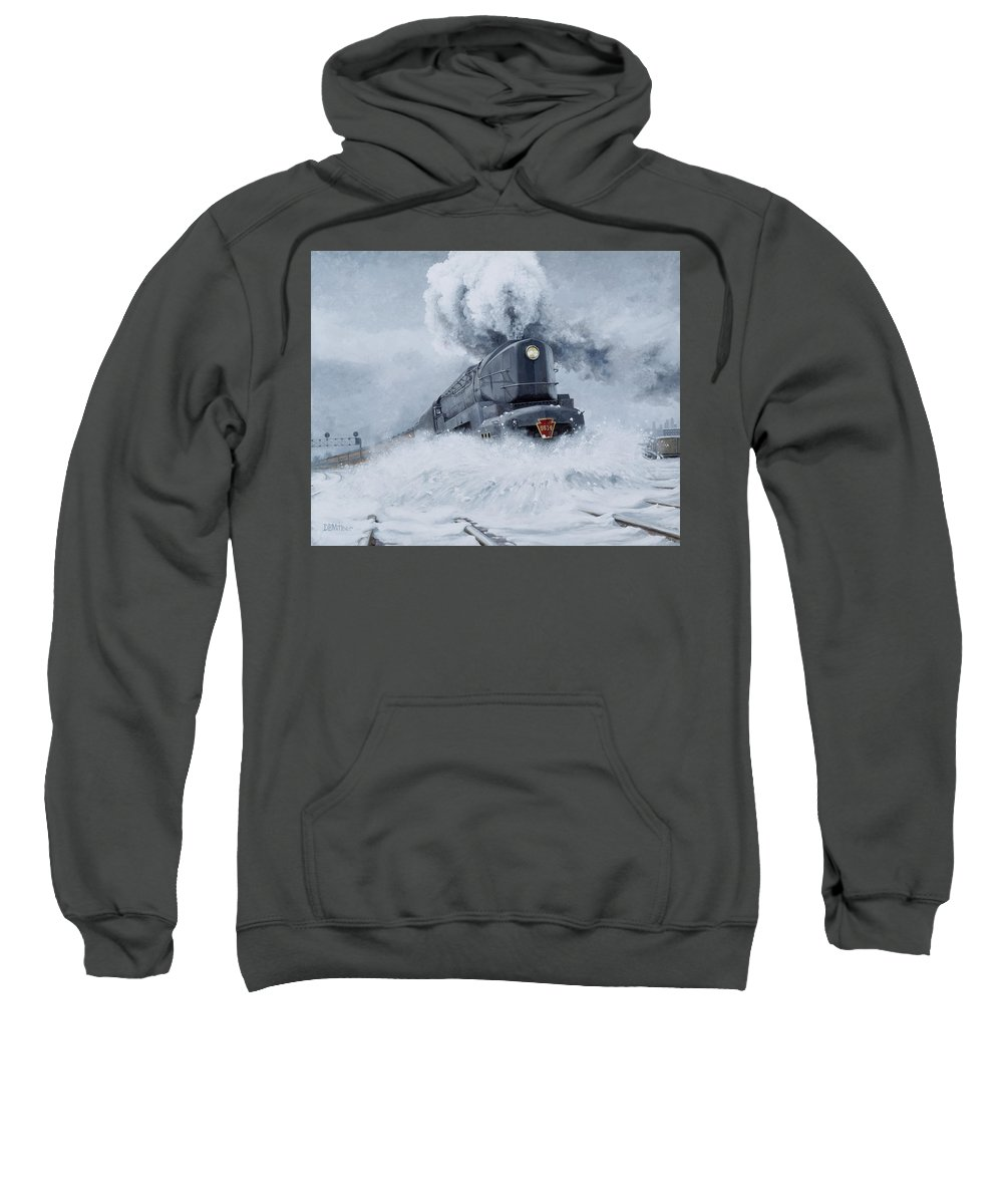 Trains Sweatshirt featuring the painting Dashing Through The Snow by David Mittner