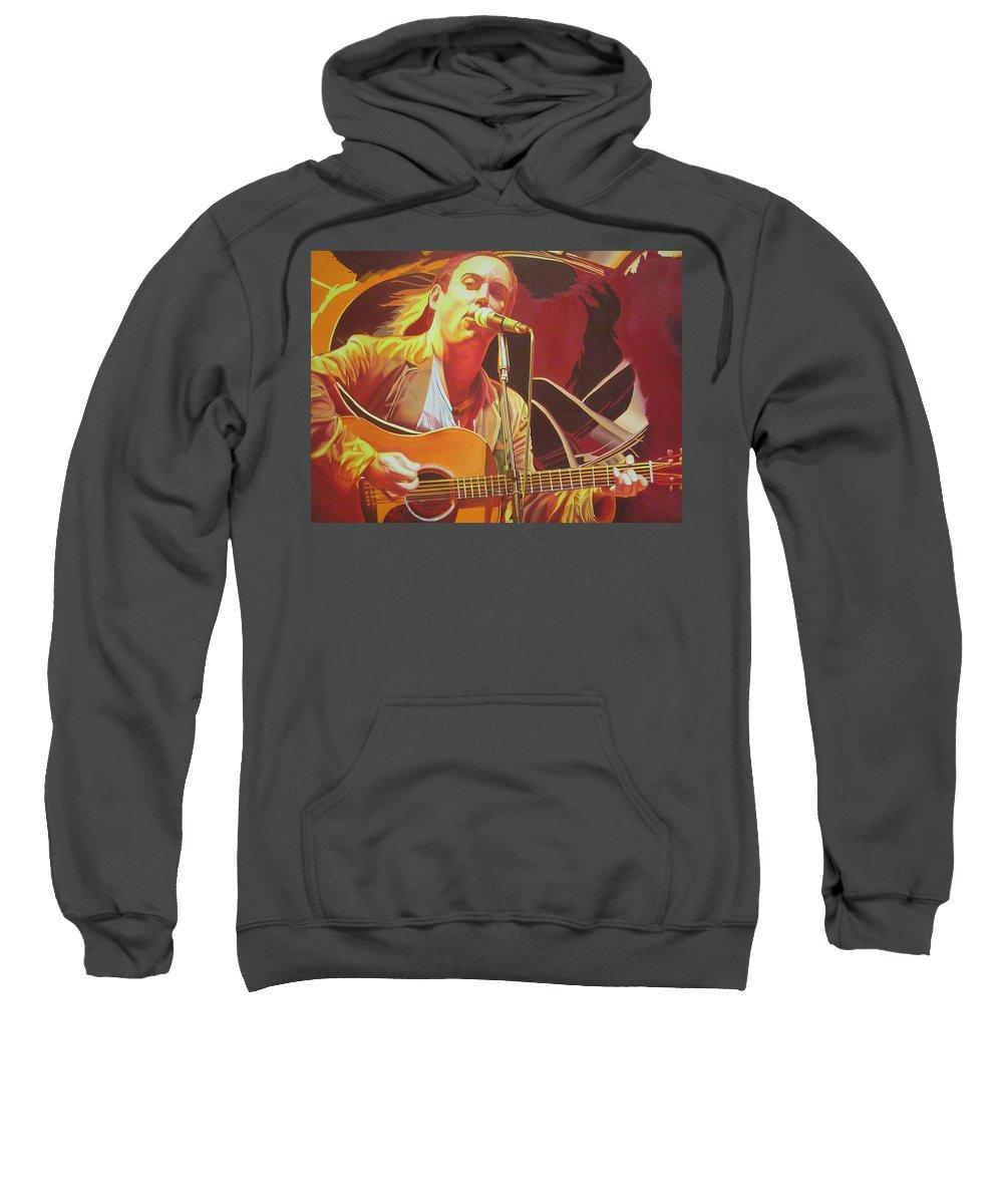 Dave Matthews Sweatshirt featuring the painting Dave Matthews At Vegoose by Joshua Morton