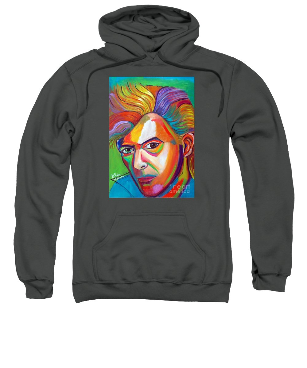 David Bowie Sweatshirt featuring the painting David Bowie by To-Tam Gerwe