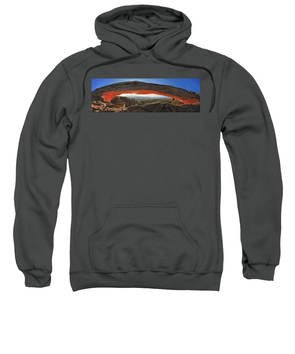Mesa Arch Sweatshirt featuring the painting Dawn At Mesa Arch Canyonlands Utah by Richard Harpum