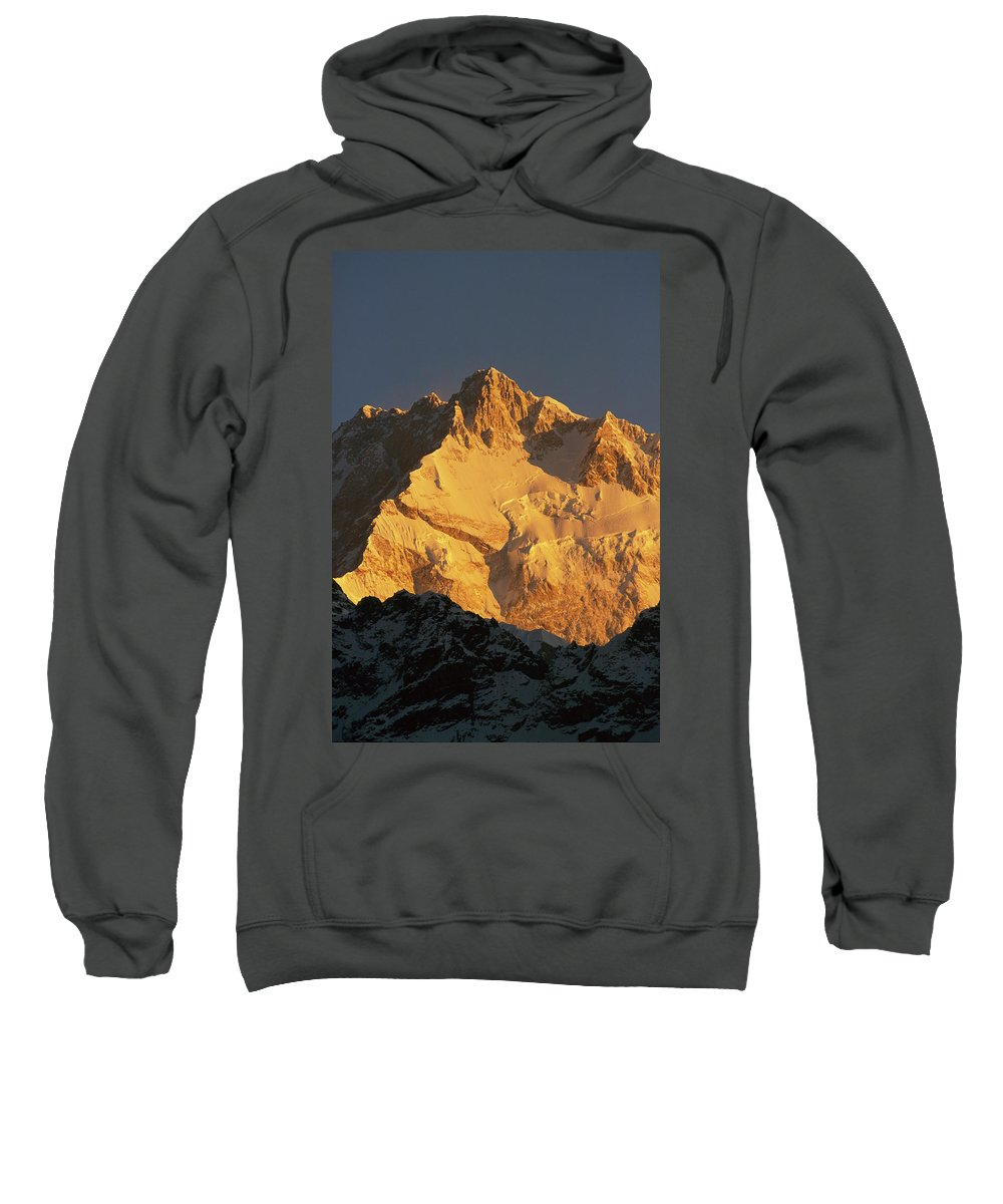 Hh Sweatshirt featuring the photograph Dawn On Kangchenjunga Talung Face by Colin Monteath