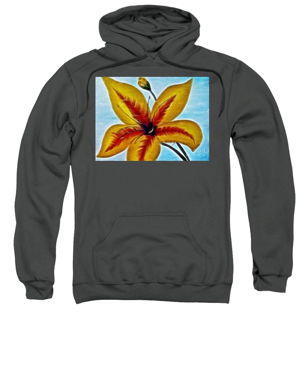 Daylily Expressive Brushstrokes Sweatshirt featuring the photograph Daylily Expressive Brushstrokes by Barbara Griffin