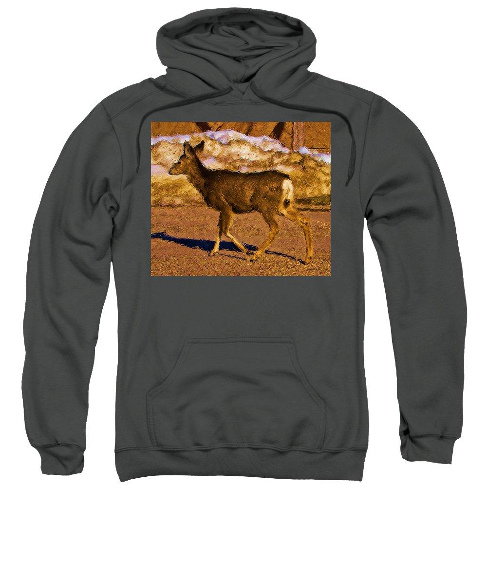 Deer Sweatshirt featuring the digital art Deer In A Different Light by Jo-Anne Gazo-McKim