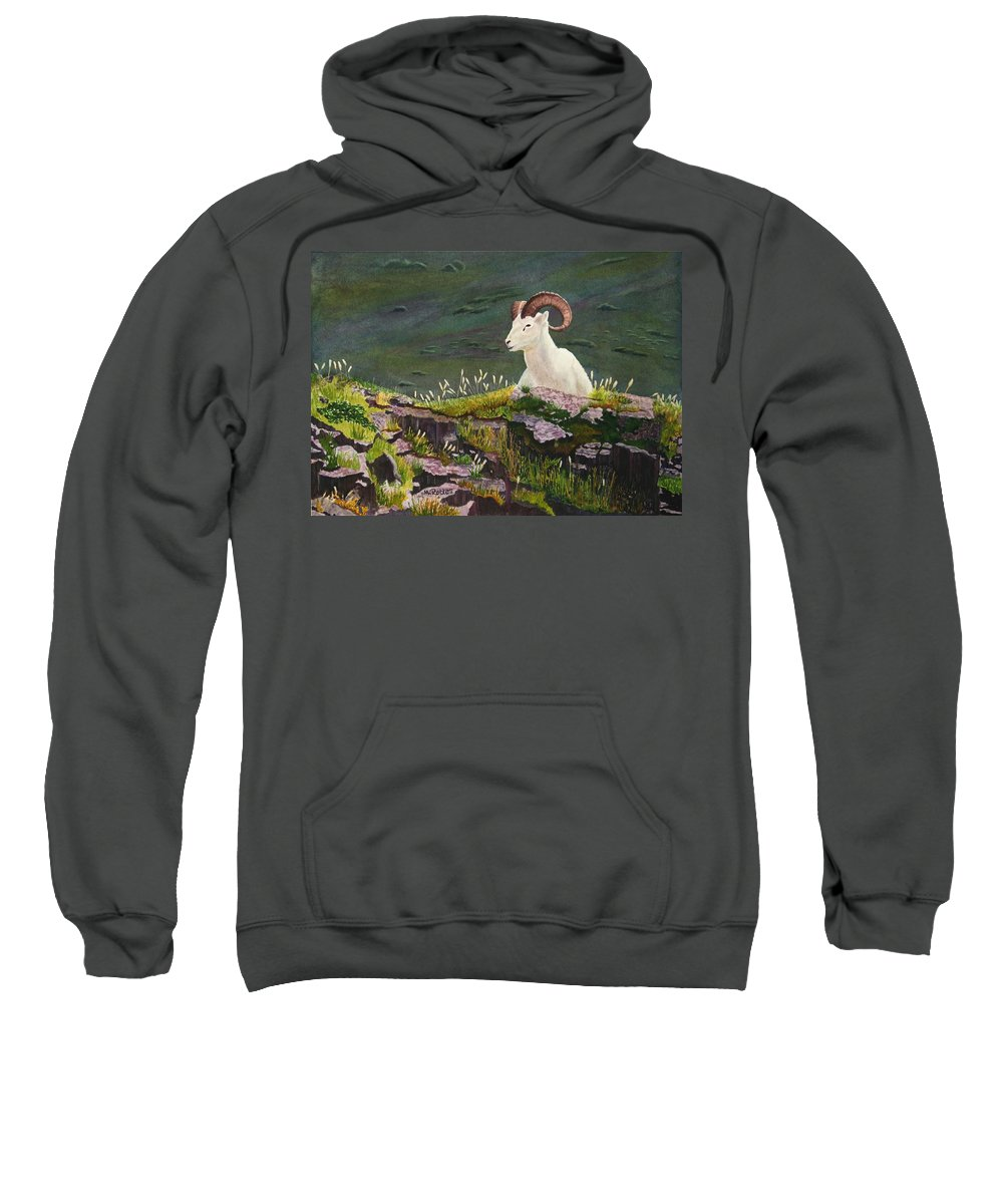 Denali Sweatshirt featuring the painting Denali Dall Sheep by Mike Robles