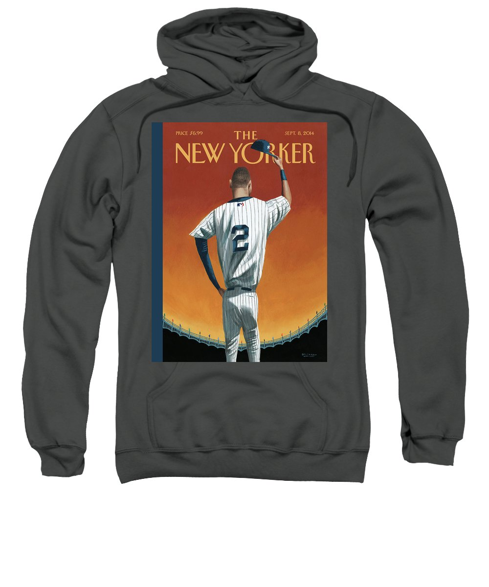 Retirement Sweatshirt featuring the painting Derek Jeter Bows Out by Mark Ulriksen