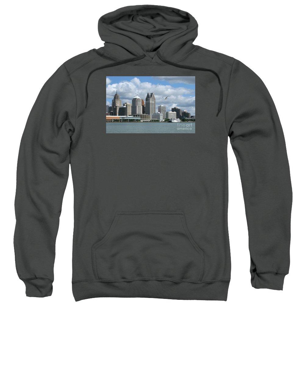 Detroit Sweatshirt featuring the photograph Detroit Riverfront by Ann Horn