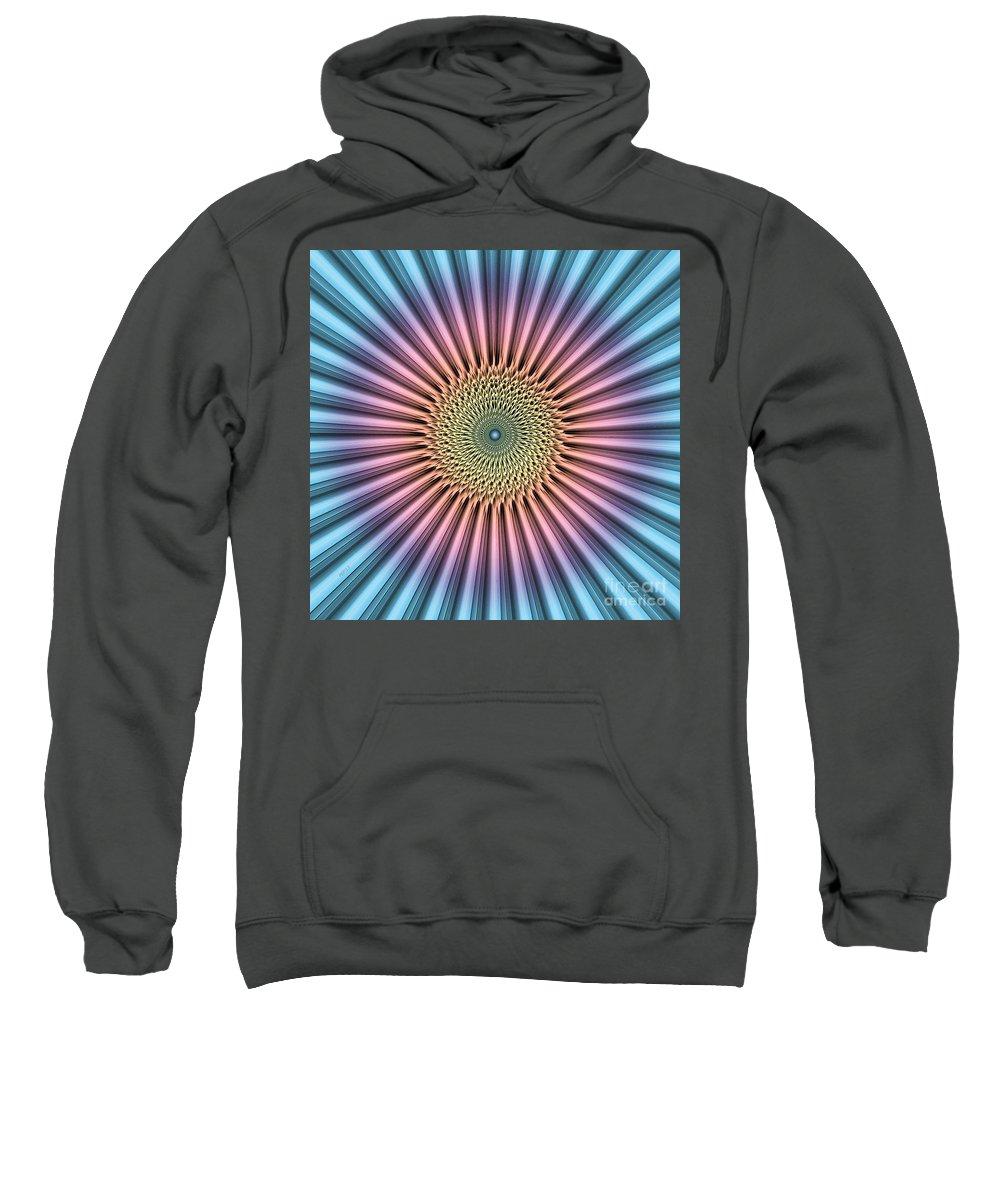 Macro Sweatshirt featuring the digital art Digital Mandala Flower by Phil Perkins