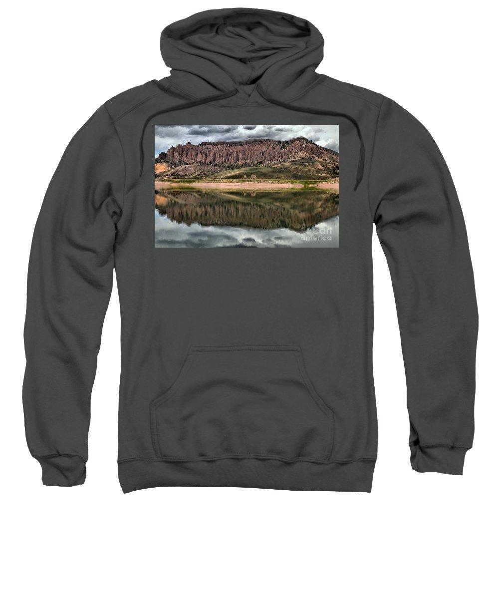 Curecanti Sweatshirt featuring the photograph Dillon Pinnacles In Blue Mesa by Adam Jewell