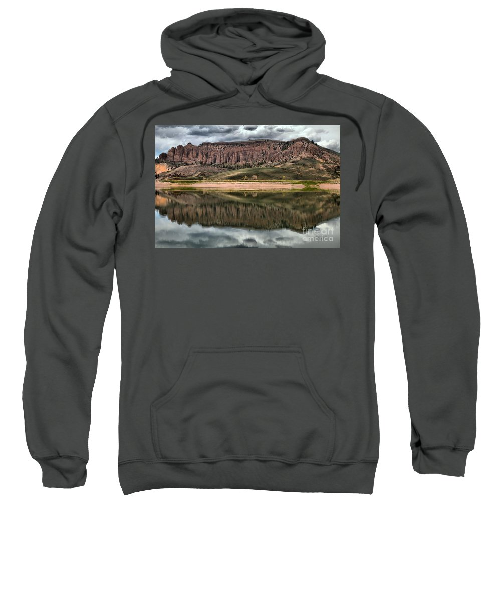 Curecanti Sweatshirt featuring the photograph Dillon Pinnacles Reflections by Adam Jewell