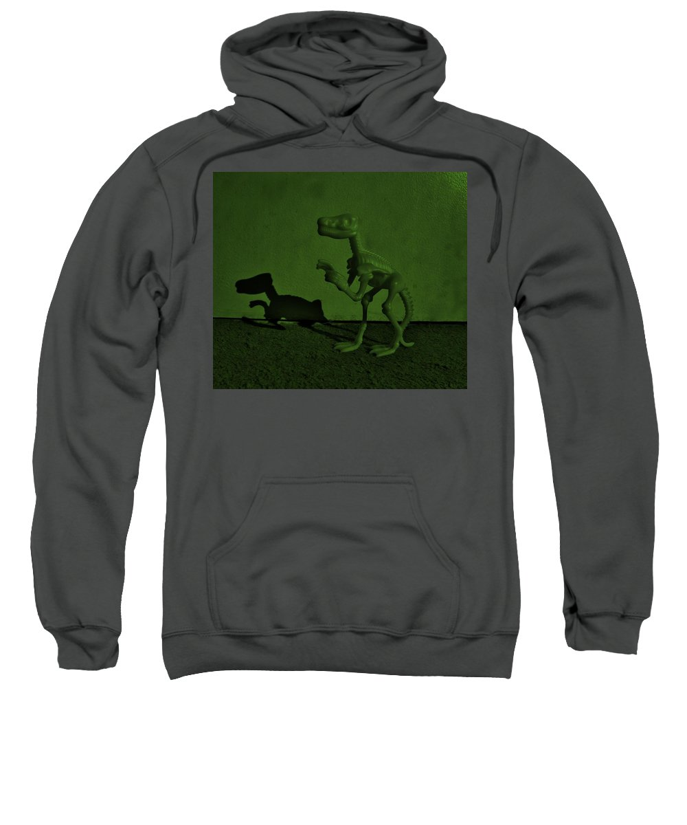 Dinosaur Sweatshirt featuring the photograph Dino Dark Olive by Rob Hans