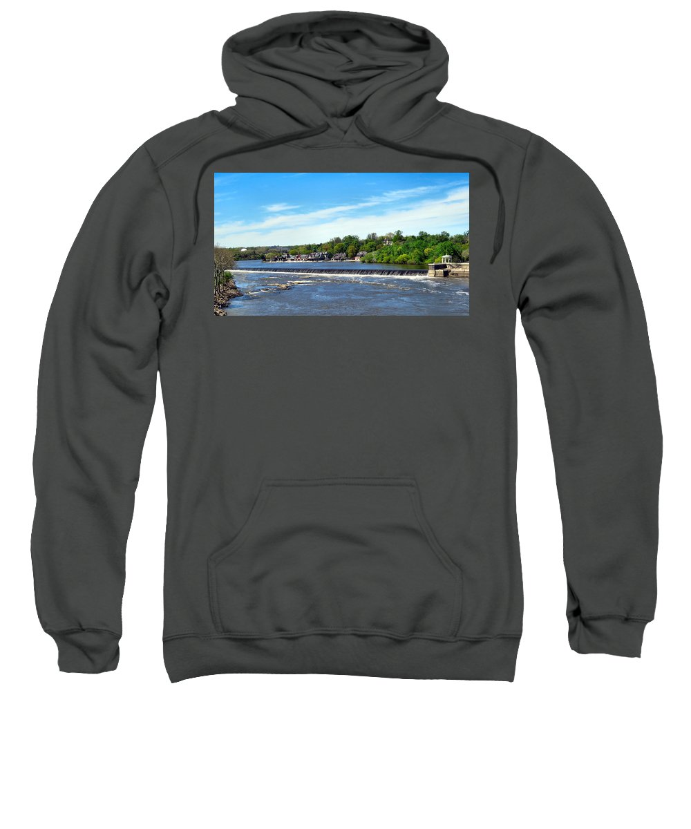 Span Sweatshirt featuring the photograph Distant Falls by Art Dingo
