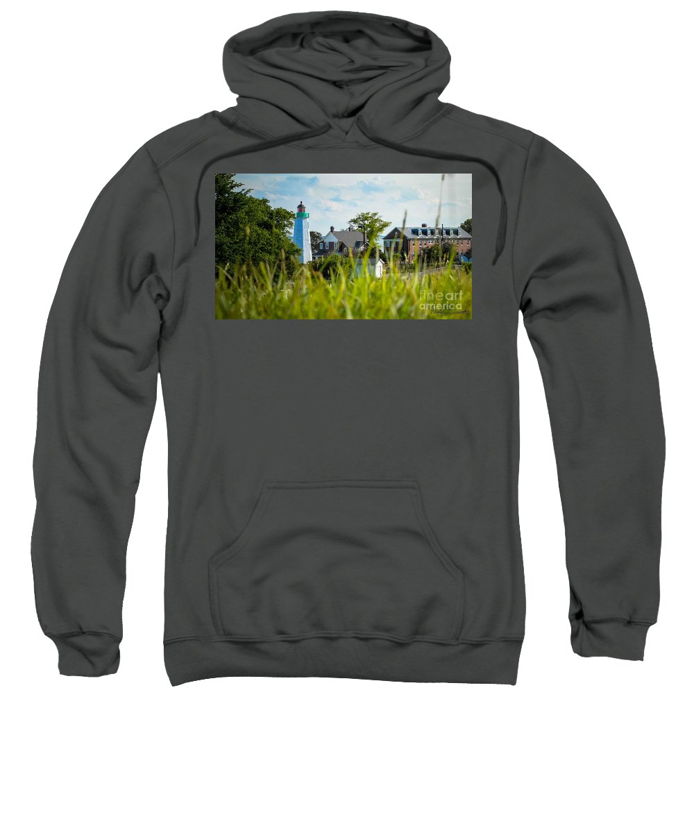 Light House Sweatshirt featuring the photograph Distant Light House by Wesley Farnsworth