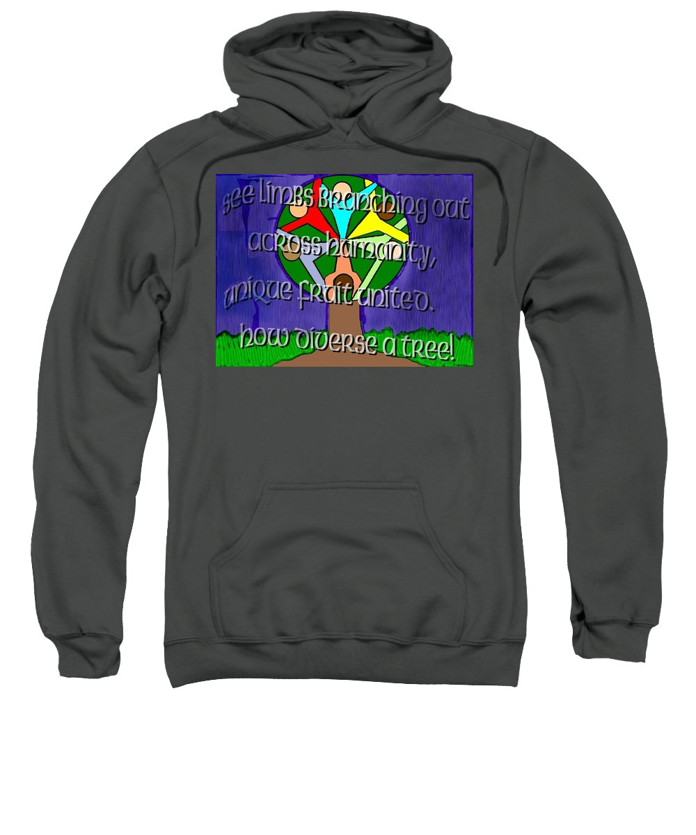 Diversity Sweatshirt featuring the painting Diversity Tree by Pharris Art