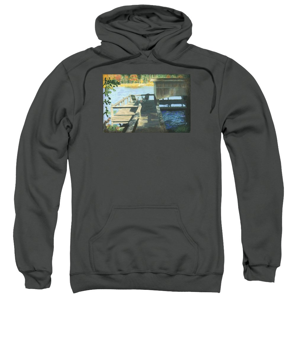Docktime Sweatshirt featuring the painting Docktime by Sherryl Lapping