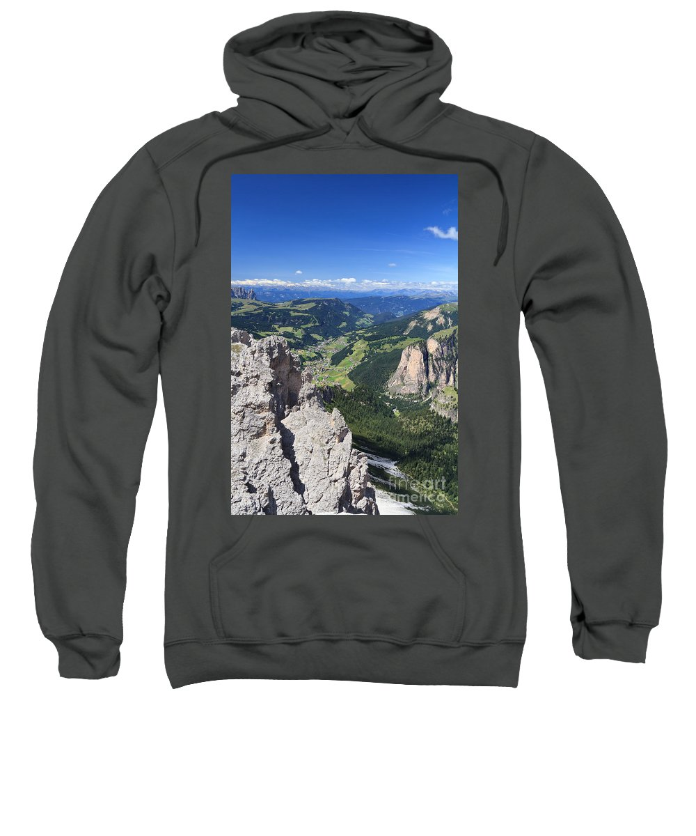 Aerial Sweatshirt featuring the photograph Dolomiti - Val Gardena by Antonio Scarpi