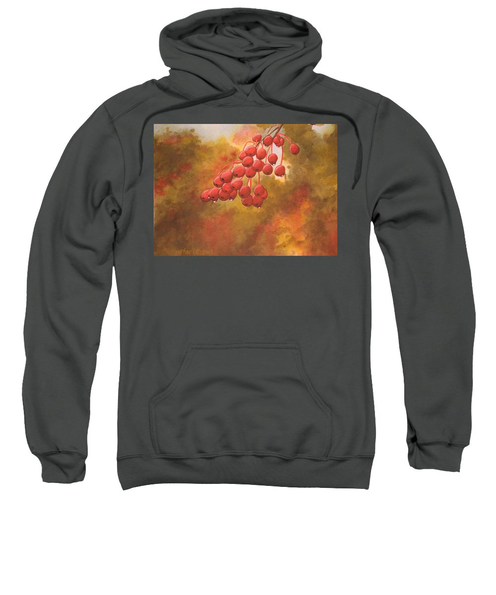 Rick Huotari Sweatshirt featuring the painting Door County Cherries by Rick Huotari