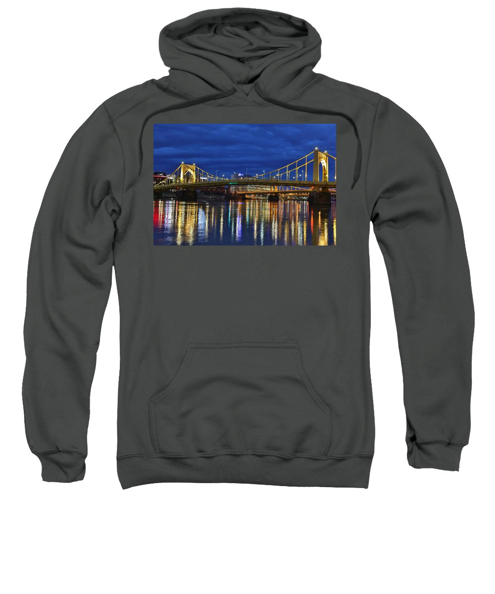 Pittsburgh Pa. Pennsylvania Andy Warhol Warhola Skyline Bridge Skyline Skycap Urban Urbanx Taaffe Jimmy City Bridge North Shore Color Sweatshirt featuring the photograph Double Agent by Jimmy Taaffe