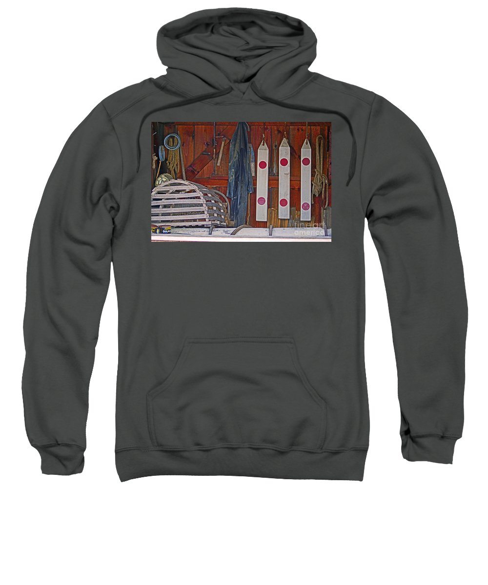Lobster Sweatshirt featuring the photograph Down East Equipment by Joe Geraci