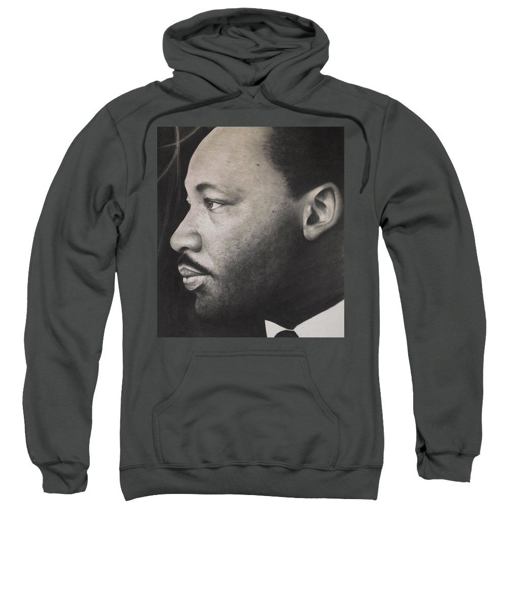 Martin Luther King Jr Sweatshirt featuring the drawing Dr. Martin by Adrian Pickett