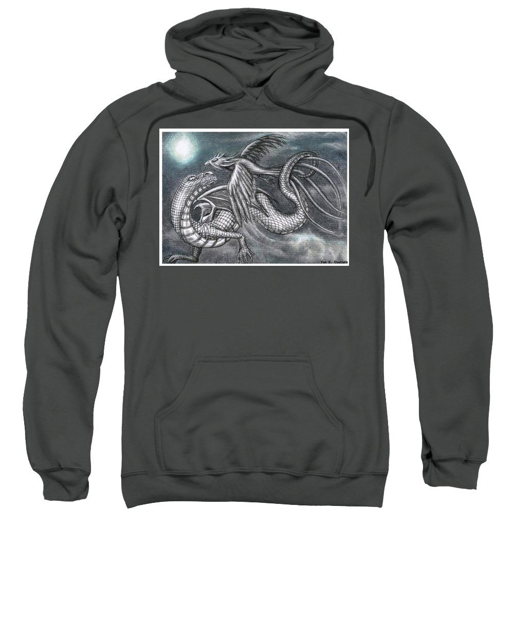 Sweatshirt featuring the drawing Dragon And Phoenix by Couture Yan-D