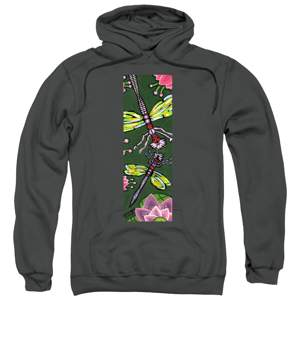 Dragonfly Sweatshirt featuring the painting Dragonflies And Water Lilies by Genevieve Esson