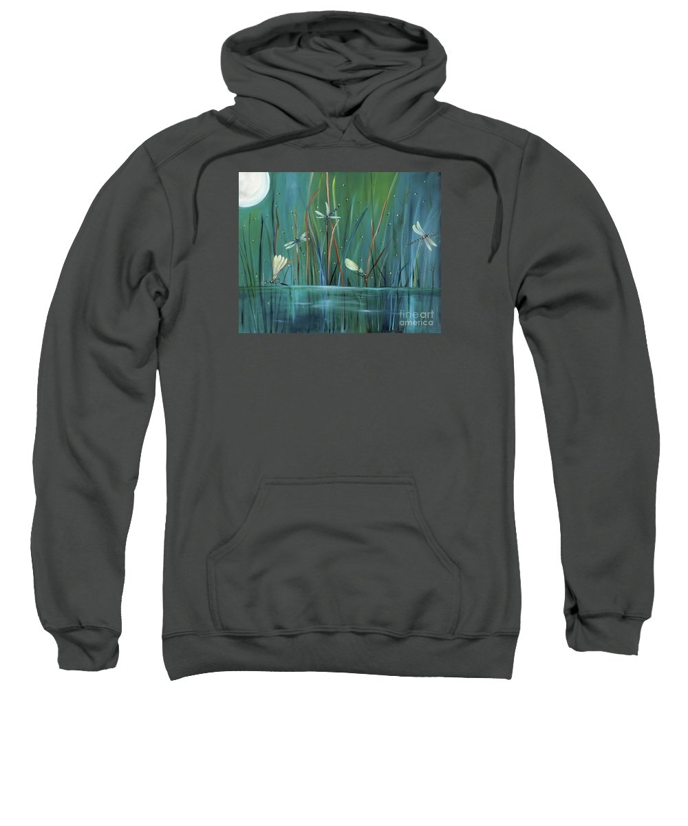 Dragonfly Sweatshirt featuring the painting Dragonfly Diner by Carol Sweetwood