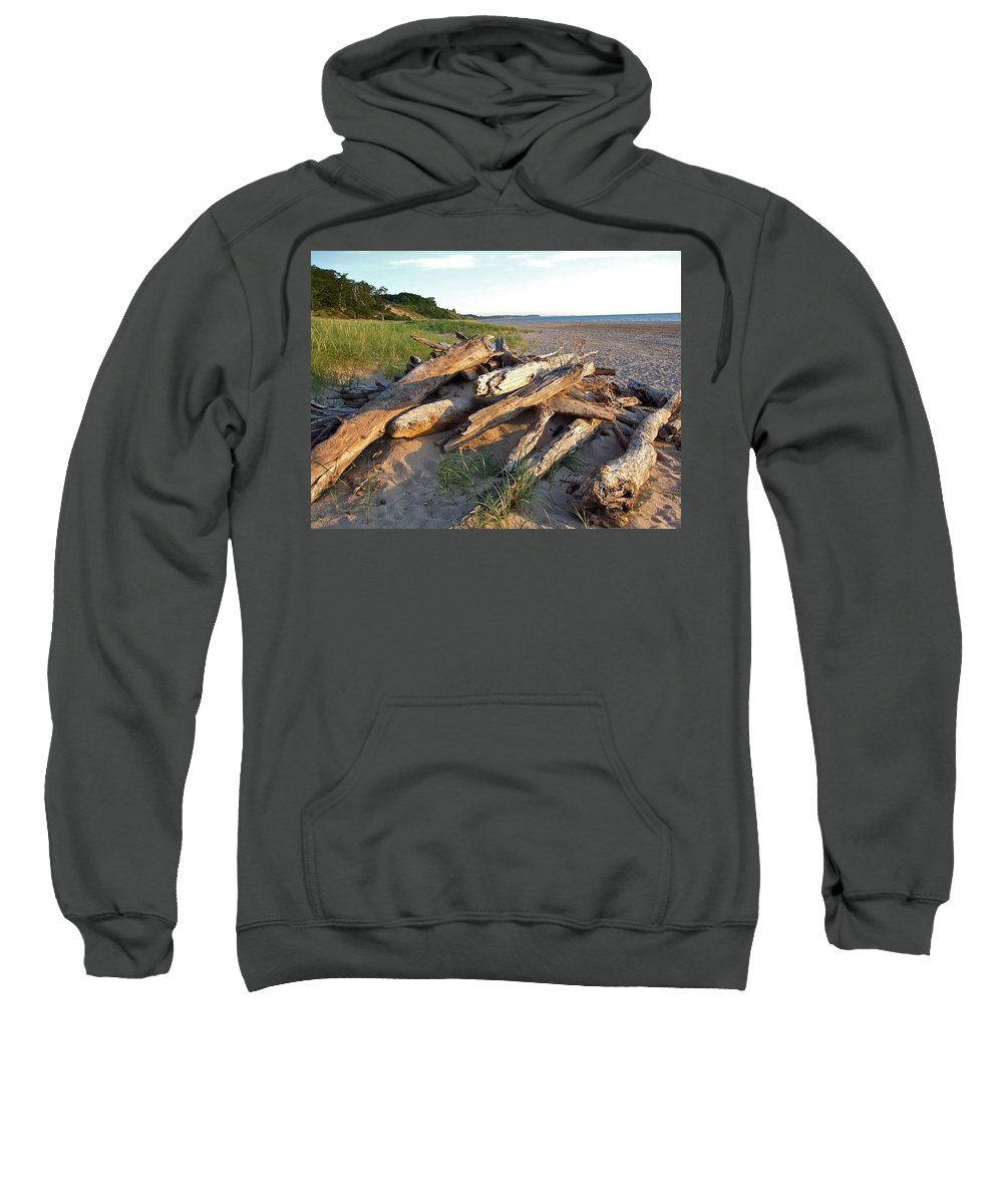 Piled Sweatshirt featuring the photograph Driftwood At Sunset by Susan Wyman