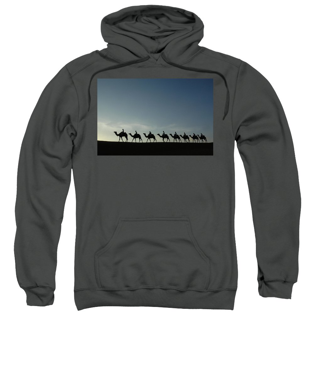 Backlit Sweatshirt featuring the photograph Dromedary Camels In Thar Desert by Pete Oxford