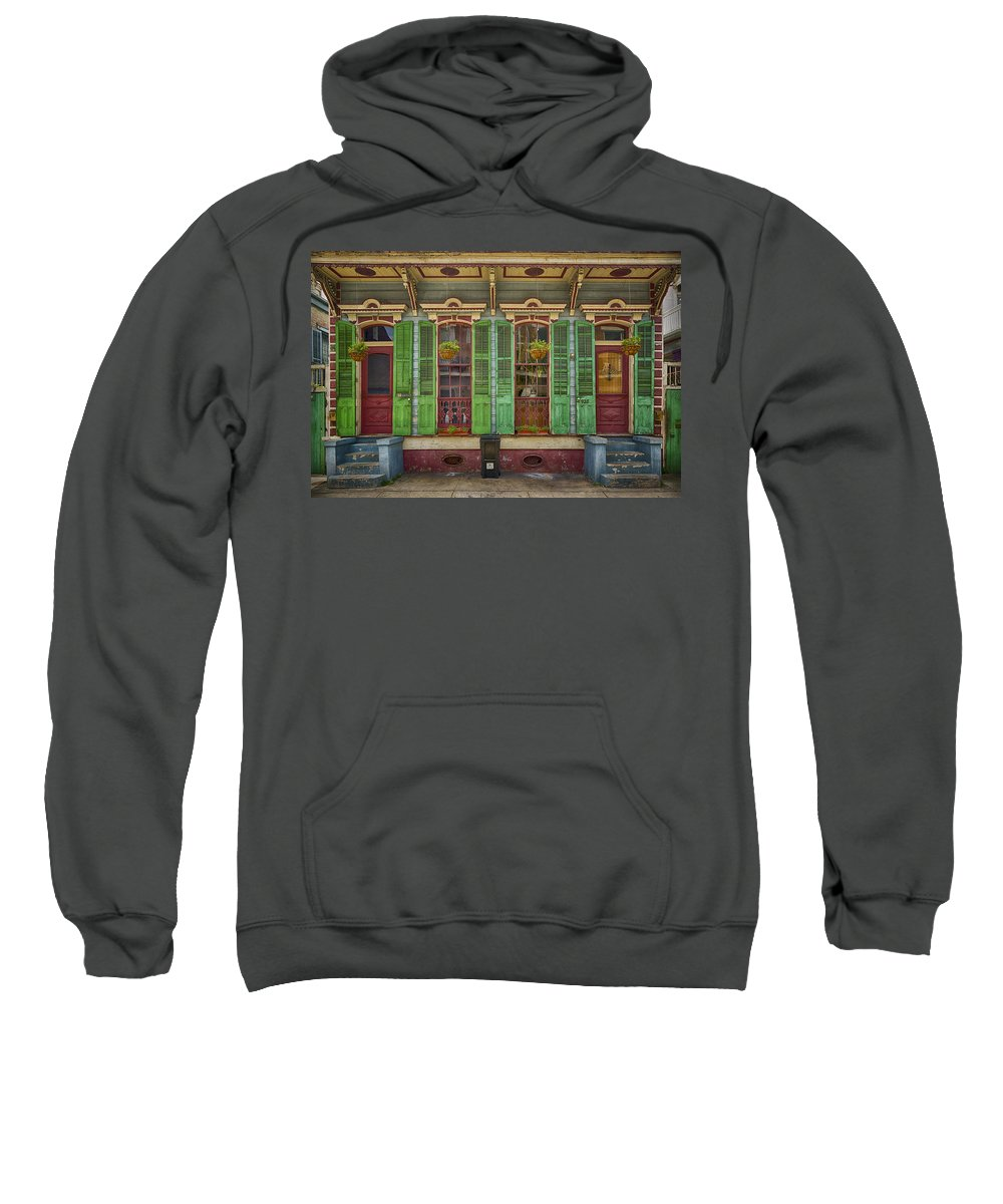 French Quarter Sweatshirt featuring the photograph Duplex In The French Quarter Nola Dsc05936 by Greg Kluempers