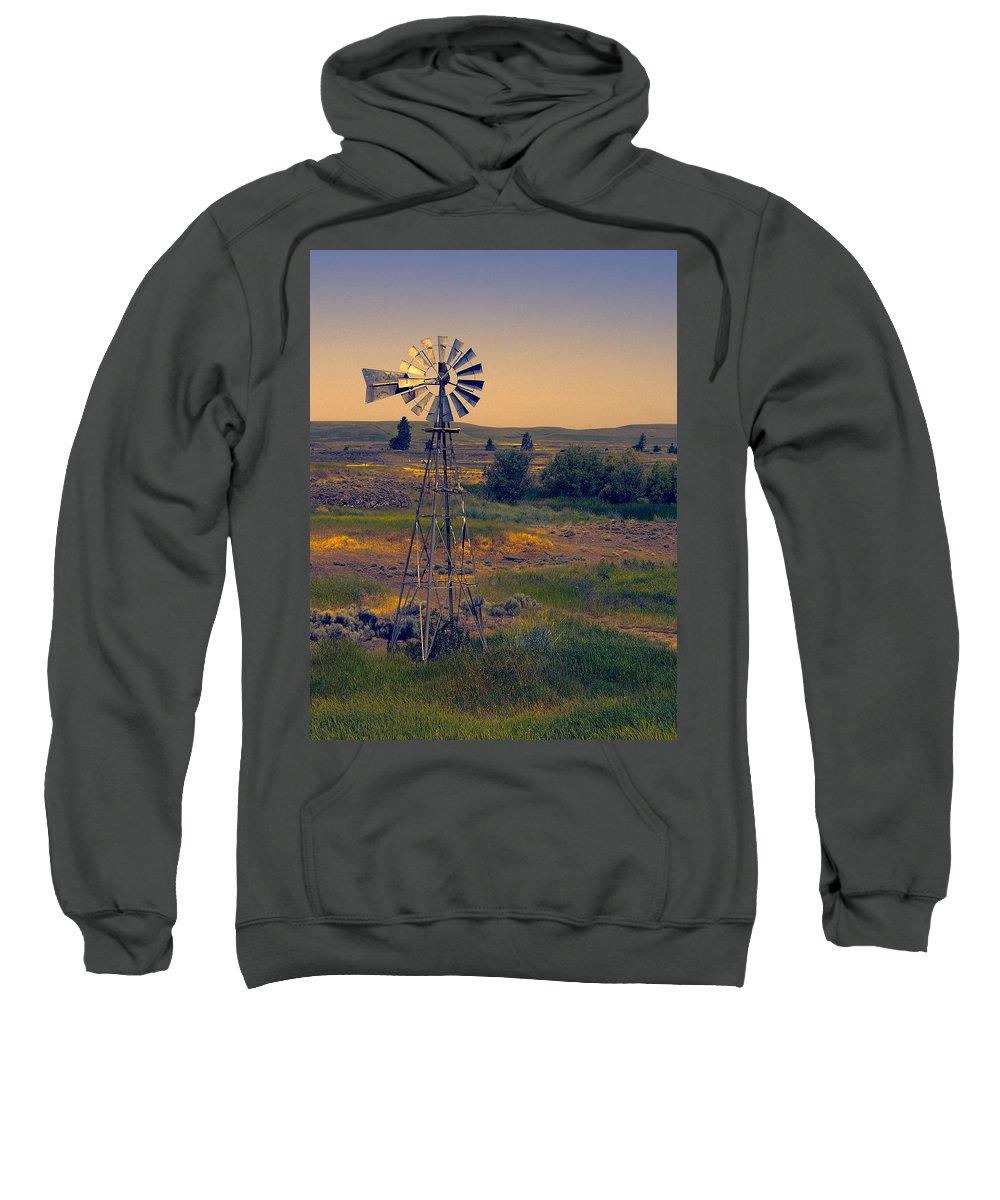 Windmill Sweatshirt featuring the photograph Dusk On The Prairie by Daniel Hagerman