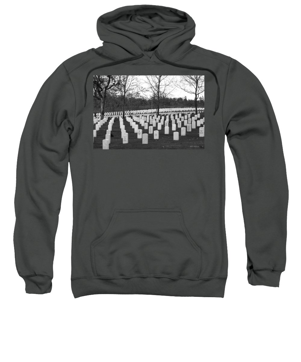 Eagle Point National Cemetery Sweatshirt featuring the photograph Eagle Point National Cemetery In Black And White by Mick Anderson