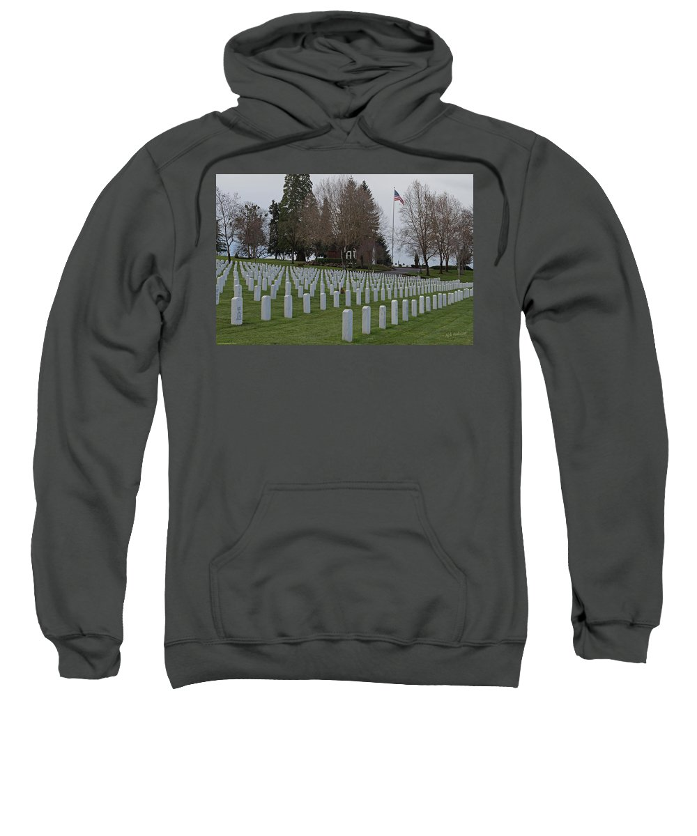 Eagle Point National Cemetery Sweatshirt featuring the photograph Eagle Point National Cemetery In Winter 2 by Mick Anderson
