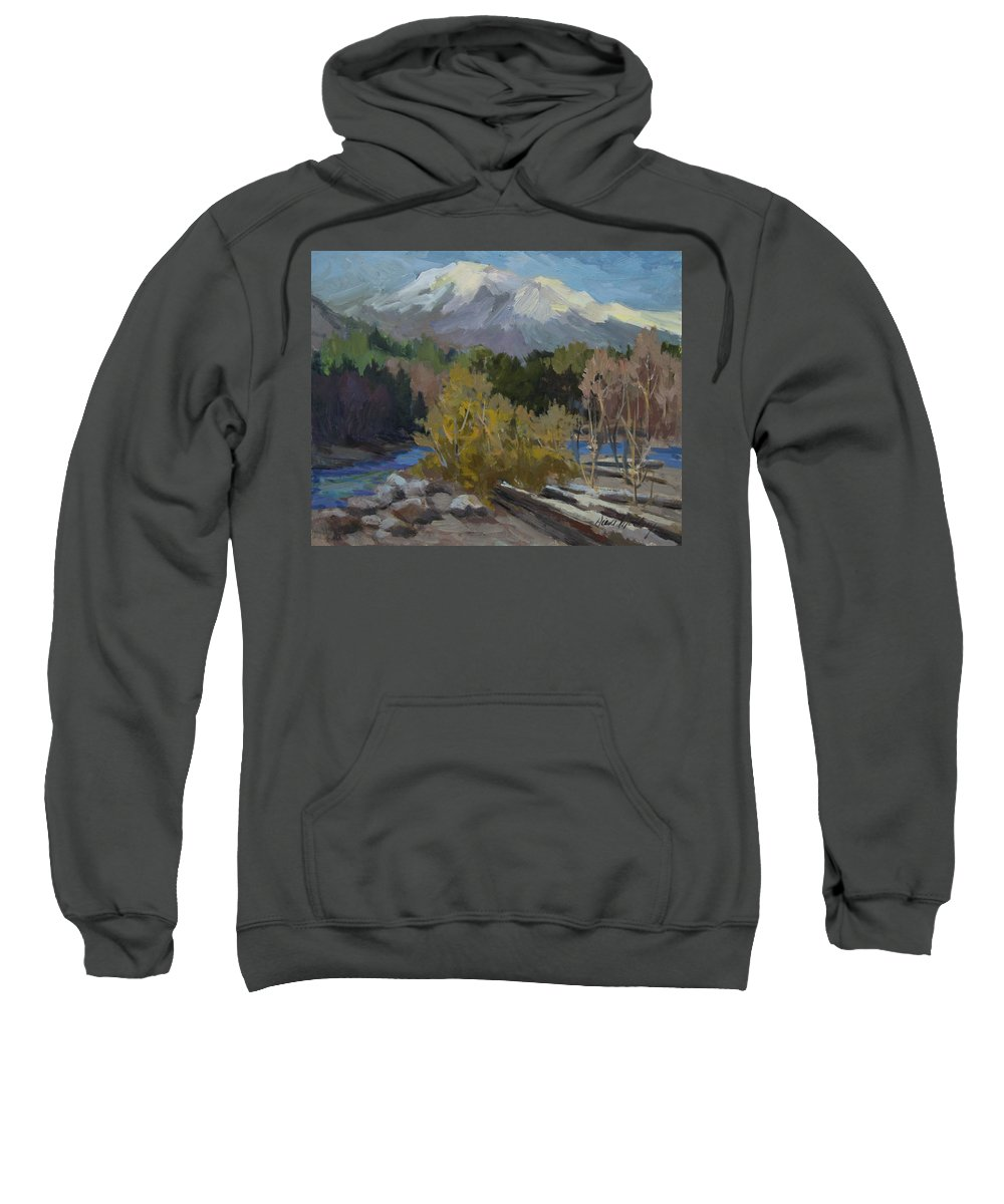 Early Snow Sweatshirt featuring the painting Early Snow Cascade Mountains by Diane McClary